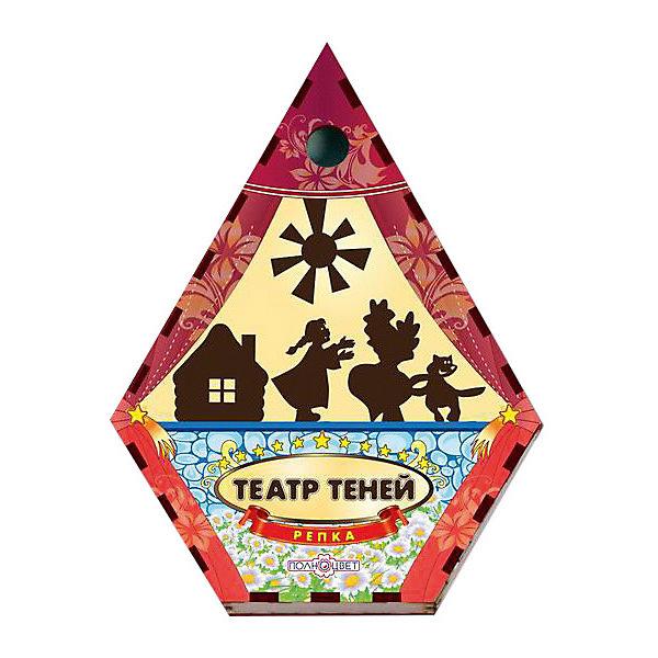 Театр теней Репка цветнойКукольный театр<br>Характеристики товара:<br><br>• возраст: от 3 лет; <br>• комплект: ширма, фигурки;<br>• материал: фанера, магнитный винил;<br>• упаковка: пленка;<br>• размер ширмы: 47х36х4,5 см.;<br>• страна обладатель бренда: Россия.<br><br>Театр теней с ширмой Репка позволит детям устроить самое настоящее театральное представление для родных и друзей. <br><br>Комплект включает в себя небольшую ширму, а также декорации и фигурки персонажей из популярной детской сказки про репку. С помощью такого набора детишки смогут весело провести время, показывая театральное представление своим родственникам или друзьям.<br><br>Театр теней  можно купить в нашем интернет-магазине.<br>Ширина мм: 30; Глубина мм: 170; Высота мм: 130; Вес г: 260; Возраст от месяцев: 36; Возраст до месяцев: 84; Пол: Унисекс; Возраст: Детский; SKU: 7276734;