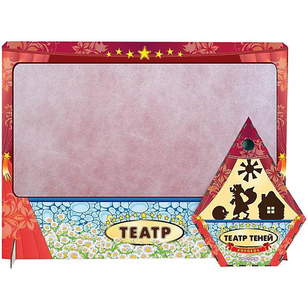 Театр теней Колобок цветной  с ширмойКукольный театр<br>Характеристики товара:<br><br>• возраст: от 3 лет;   <br>• комплект: ширма, фигурки;<br>• материал: дерево, магнит, винил;<br>• упаковка: пленка;<br>• размер упаковки: 22х17х3 см.;<br>• размер ширмы: 47х36х5 см.;<br>• страна обладатель бренда: Россия.<br><br>Настольная игра колобок отличный выбор занятия для проведения семейного досуга. <br><br>В набор включены цветная ширма и  фигуроки героев сказки колобок. Ширма и фигурки изготовлены из дерева. Фигурки крепятся к ширме с помощью магнита, что добавляет больше удобств при игре. Для начала представления необходимо затемнить комнату и установить фонарь или лампу за ширмой. <br><br>Данная настольная игра поможет в развитии творческих навыков вашего ребенка и доставит ему массу незабываемых впечатлений. <br><br>Театр теней  можно купить в нашем интернет-магазине.<br>Ширина мм: 50; Глубина мм: 470; Высота мм: 360; Вес г: 470; Возраст от месяцев: 36; Возраст до месяцев: 84; Пол: Унисекс; Возраст: Детский; SKU: 7276736;
