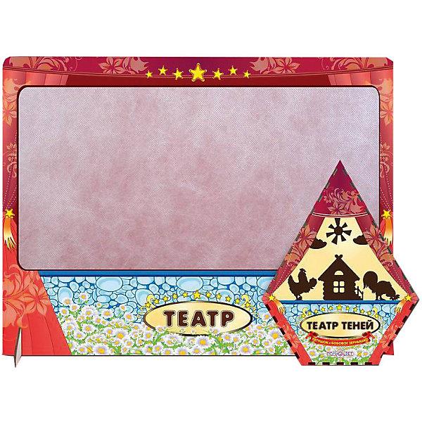 Театр теней Петушок и бобовое зернышко цветной с ширмойКукольный театр<br>Характеристики товара:<br><br>• возраст: от 3 лет; <br>• комплект: ширма, фигурки в коробочке;<br>• материал: фанера, магнитный винил, текстиль;<br>• упаковка: пленка;<br>• размер упаковки: 4х57х36 см.;<br>• размер коробочки: 22х17х4,5 см;<br>• страна обладатель бренда: Россия.<br><br>Настольная игра театр теней  позволит создать из сказки Петушок и бобовое зернышко интересное зрелище.<br><br>В комплект входят фигурки из тонкой шлифованной фанеры с магнитным винилом и отверстием для пальца. Они упакованы в элегантную коробочку в форме домика. К набору также прилагается ширма, где будет разворачиваться действие.<br><br>Поставьте ширму, закрепите на ней персонажей и декораций в нужном порядке, включите настольную лампу, установленную позади сцены, и можно начинать представление.<br><br>Театр теней  можно купить в нашем интернет-магазине.<br>Ширина мм: 50; Глубина мм: 470; Высота мм: 360; Вес г: 470; Возраст от месяцев: 36; Возраст до месяцев: 84; Пол: Унисекс; Возраст: Детский; SKU: 7276740;