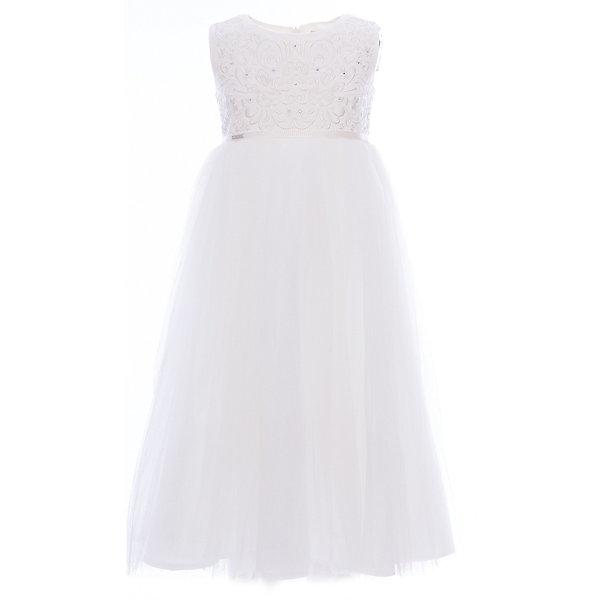 Платье нарядное Unona Dart для девочкиОдежда<br>Характеристики товара:<br><br>• цвет: белый;<br>• состав: 100% полиэстер;<br>• подкладка: 65% полиэстер, 35% хлопок;<br>• сезон: круглый год;<br>• особенности: нарядное, на подкладке;<br>• застежка: молния на спинке;<br>• поясок-лента;<br>• без рукавов;<br>• завышенная талия;<br>• страна бренда: Россия;<br>• страна изготовитель: Россия.<br><br>Нарядное платье без рукавов для девочки. Роскошное платье с завышенной талией в итальянском стиле. Длина ниже колена. Лиф украшен богатой вышивкой и сияющими стразами. Нежная сетка на юбке густо собрана. Платье застегивается на молнию. Дополнительное облегание достигается за счет пояса из репсовой ленты.<br><br>Нарядное платье Unona Dart (Юнона де Арт) можно купить в нашем интернет-магазине.<br>Ширина мм: 236; Глубина мм: 16; Высота мм: 184; Вес г: 177; Цвет: белый; Возраст от месяцев: 96; Возраст до месяцев: 108; Пол: Женский; Возраст: Детский; Размер: 110,116,128,122; SKU: 7309054;