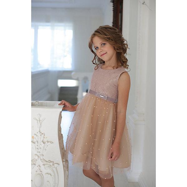Купить Платье нарядное Unona D'art для девочки, Россия, коричневый, 134, 116, 128, 122, Женский