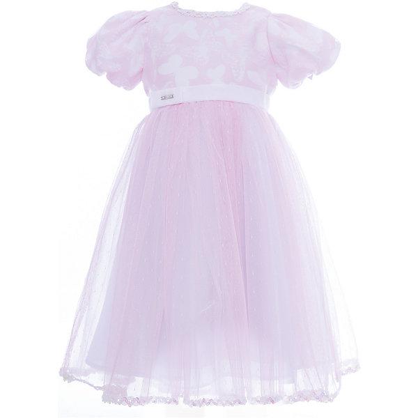 Платье нарядное Unona Dart для девочкиОдежда<br>Характеристики товара:<br><br>• цвет: розовый;<br>• состав: 100% полиэстер;<br>• подкладка: 65% полиэстер, 35% хлопок;<br>• сезон: круглый год;<br>• особенности: нарядное, на подкладке;<br>• застежка: молния на спинке;<br>• поясок-лента;<br>• с коротким рукавом;<br>• страна бренда: Россия;<br>• страна изготовитель: Россия.<br><br>Нарядное платье с коротким рукавом для девочки. Верхний розовый полупрозрачный слой на белом подкладке создает эффект невесомости. Платье легкое и воздушное. Пышные рукавчики, тесьма с пайетками, многослойная юбка из нежного фатина, пояс из бархатной ленты.<br><br>Нарядное платье Unona Dart (Юнона де Арт) можно купить в нашем интернет-магазине.