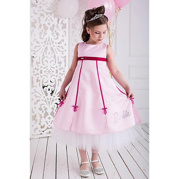 Платье нарядное Barbie™ для девочкиОдежда<br>Характеристики товара:<br><br>• цвет: розовый;<br>• состав: 100% полиэстер;<br>• подкладка: 65% полиэстер, 35% хлопок;<br>• сезон: круглый год;<br>• особенности: нарядное, на подкладке;<br>• застежка: молния;<br>• поясок;<br>• без рукавов;<br>• страна бренда: США;<br>• страна бренда: Россия;<br><br>Нарядное платье без рукавов для девочки. Завышенная талия, юбка из шести клиньев с богатым подъюбником. Стильно декорировано бархатными лентами. Надпись Barbie стразами высокого качества на одном из клиньев юбки, металлический элемент c логотипом на поясе. Лиф расшит жемчужными бусинами.<br><br>Нарядное платье Barbie (Барби) можно купить в нашем интернет-магазине.<br>Ширина мм: 236; Глубина мм: 16; Высота мм: 184; Вес г: 177; Цвет: розовый; Возраст от месяцев: 60; Возраст до месяцев: 72; Пол: Женский; Возраст: Детский; Размер: 116,104,98,110,128,122; SKU: 7309320;