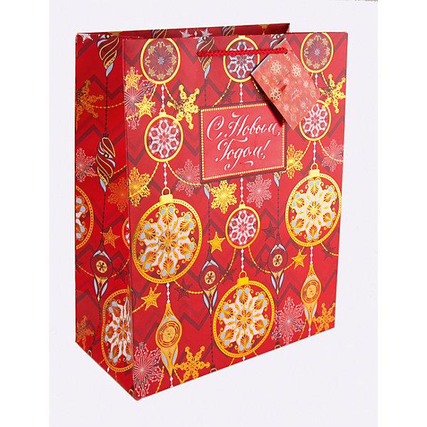 Бумажный пакет Золото на красном для сувенирной продукции, с ламинациейУпаковка новогоднего подарка<br>Характеристики:<br><br>• размер пакета: 22,9х17,8х9,8 см;<br>• ширина основания: 17,8 см;<br>• плотность бумаги: 250 г/м2;<br>• масса: 56 г.<br><br>Красивый ламинированный пакет понадобится для упаковки подарков и сувениров. Пакет удобного размера, он может вместить маленький презент.<br><br>Тематическая новогодняя иллюстрация на пакете подойдет и для взрослых, и для детей. Две прочные ручки надежно закреплены. Очень плотная бумага хорошо держит форму.<br><br>Подарочный пакет необходим для хорошего оформления подарков друзьям и родным.<br><br>Бумажный пакет «Золото на красном» для сувенирной продукции, с ламинацией, Magic Time можно купить в нашем интернет-магазине.<br>Ширина мм: 230; Глубина мм: 178; Высота мм: 1; Вес г: 56; Возраст от месяцев: 36; Возраст до месяцев: 2147483647; Пол: Унисекс; Возраст: Детский; SKU: 7317198;