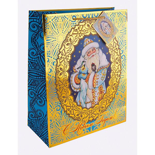Magic Time Бумажный пакет Дед Мороз и синички для сувенирной продукции, с ламинацией пакет подарочный magic time дед мороз и дети 26 х 32 4 х 12 7 см