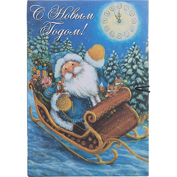 Magic Time Подарочная коробка ДЕД МОРОЗ В САНЯХ M коробочка для денег подарочная magic time новогодние часы 76349