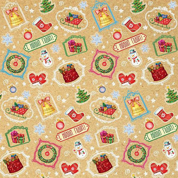 Крафт бумага Новогодний калейдоскоп для сувенирной продукции в листахНовогодняя упаковочная бумага<br>Характеристики:<br><br>• размер листа: 100х70 см;<br>• плотность бумаги: 80 г/м2;<br>• масса: 60 г.<br><br>Красочная упаковочная бумага поможет красиво оформить подарок для взрослого или ребенка. Тематический новогодний принт гармонично подойдет для праздничного сюрприза.<br><br>Большие листы немелованной бумаги оформлены полноцветным декоративным рисунком. Каждый лист аккуратно свернут в рулончик, поэтому не имеет сгибов и заломов.<br><br>Одного листа будет достаточно для упаковки подарка среднего размера, для большего объема необходимо приобрести несколько листов одной расцветки или скомбинировать несколько видов одной цветовой гаммы.<br><br>Крафт бумагу «Новогодний калейдоскоп» для сувенирной продукции, Magic Time можно купить в нашем интернет-магазине.<br>Ширина мм: 700; Глубина мм: 30; Высота мм: 30; Вес г: 60; Возраст от месяцев: 36; Возраст до месяцев: 2147483647; Пол: Унисекс; Возраст: Детский; SKU: 7317243;