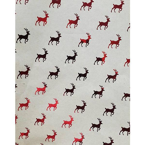 Крафт бумага Красные олени для сувенирной продукцииУпаковка новогоднего подарка<br>Характеристики:<br><br>• размер листа: 100х70 см;<br>• плотность бумаги: 60 г/м2;<br>• масса: 49 г.<br><br>Красочная упаковочная бумага поможет красиво оформить подарок для взрослого или ребенка. Тематический новогодний принт гармонично подойдет для праздничного сюрприза.<br><br>Большие листы немелованной бумаги оформлены полноцветным декоративным рисунком. Каждый лист аккуратно свернут в рулончик, поэтому не имеет сгибов и заломов.<br><br>Одного листа будет достаточно для упаковки подарка среднего размера, для большего объема необходимо приобрести несколько листов одной расцветки или скомбинировать несколько видов одной цветовой гаммы.<br><br>Крафт бумага «Красные олени» для сувенирной продукции, Magic Time можно купить в нашем интернет-магазине.<br>Ширина мм: 700; Глубина мм: 30; Высота мм: 30; Вес г: 49; Возраст от месяцев: 36; Возраст до месяцев: 2147483647; Пол: Унисекс; Возраст: Детский; SKU: 7317259;