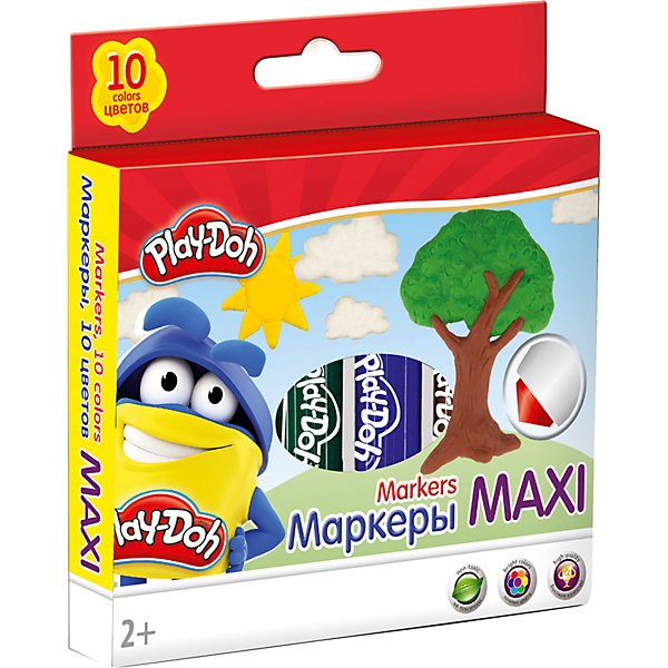 Фломастеры Mega Jumbo Академия Групп Play-Doh, 10 цветовФломастеры<br>Характеристики:<br><br>• цветные фломастеры для творчества, 10 цветов;<br>• тип фломастеров: макси, 13,6 см;<br>• утолщенная форма корпуса;<br>• увеличенное содержание чернил;<br>• нейлоновый стержень, толщина 14 мм;<br>• улучшенный пишущий узел;<br>• безопасный фетровый наконечник закругленной формы;<br>• вентилируемый колпачек, непрозрачный, в цвет наконечника;<br>• материал: нетоксичный пластик, чернила;<br>• упаковка: коробка из мелованного картона с 4С печатью;<br>• размер упаковки: 16,4х12,8х1,5 см;<br>• вес: 114 г.<br><br>Фломастеры с безопасным наконечником используются в процессе развивающих занятий с детьми старше 2-х лет. Фломастеры имеют утолщенную форму корпуса и увеличенное содержание чернил – маленьким художникам предоставлен простор для творческих порывов. Фетровый наконечник закругленной формы выдерживает самый сильный нажим и удар. Каждый фломастер рисует под любым углом. На корпусе фломастера – печать под цвет наконечника, все фломастеры белого цвета.<br><br>Набор фломастеров Maxi, 10 цв. можно купить в нашем интернет-магазине.<br>Ширина мм: 26; Глубина мм: 155; Высота мм: 125; Вес г: 100; Возраст от месяцев: 36; Возраст до месяцев: 72; Пол: Унисекс; Возраст: Детский; SKU: 7319931;