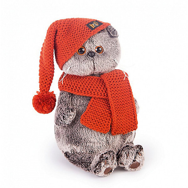 Budi Basa Мягкая игрушка Budi Basa Кот Басик в вязаной шапке и шарфе, 25 см budi basa budi basa мягкая игрушка басик baby в колпаке со снеговичком 30 см
