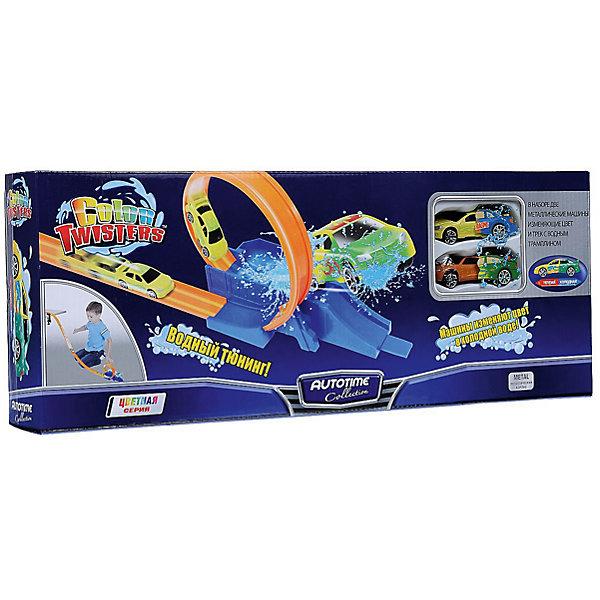 Автотрек Autotime Color Twisters Water Splash-1 с 2-мя машинкамиАвтотреки<br>Характеристики:<br><br>• возраст: от 3 лет;<br>• тип игрушки: легковой транспорт;<br>• особенности: машинка меняет цвет в воде;<br>• материал: пластик, металл;<br>• размер: 45,8х18х7 см;<br>• вес: 665 гр;<br>• страна бренда: США;<br>• страна производитель: Китай;<br>• тип упаковки: картон;<br>• бренд: Autogrand.<br><br>Игровой набор от бренда Autogrand «COLOR TWISTERS WATER SPLASH-1» состоит из сборного трека с горкой и трамплином и двух металлических машинок, которым можно устроить тотальное водное преображение. Это связанно с тем, что корпус машинок имеет свойство менять цвет и дизайн в зависимости от температуры воды, в которую машинки попадают. Если пустить игрушку вниз по горке, то после скоростного спуска ей предстоит преодолеть круговую петлю, а после - прямиком в водный трамплин, из которого можно встретить совершенно преображенную машинку. При комнатной температуре она постепенно станет обычного цвета. Так же можно придать былой внешний вид машинке, если поместить ее под горячую воду.<br><br>Все части трека и сами машинки сделаны из безопасных материалов. Так же красители, которыми окрашены все части набора являются гипоаллергенными и не навредят здоровью ребенка. Игрушка прошла все необходимые проверки и получили все сертификаты качества.<br><br>Игровой набор от бренда Autogrand «COLOR TWISTERS WATER SPLASH-1» можно купить в нашем интернет-магазине.<br>Ширина мм: 458; Глубина мм: 180; Высота мм: 70; Вес г: 665; Возраст от месяцев: 36; Возраст до месяцев: 2147483647; Пол: Мужской; Возраст: Детский; SKU: 7321053;