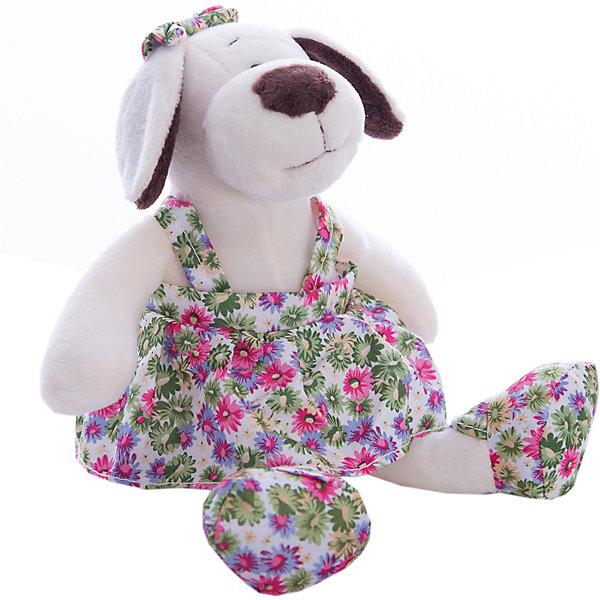 TEDDY Мягкая игрушка TEDDY Собака в платье с цветами, 24 см мягкая игрушка собачка мила в платье 23см цвет бежевый
