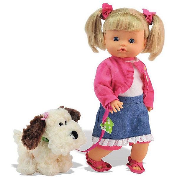 Классическая кукла Dimian Нена с собачкой, 36 смКлассические куклы<br>Характеристики:<br><br>• возраст: от 3 лет;<br>• тип игрушки: кукла;<br>• вес: 800 гр;<br>• высота куклы: 36 см;<br>• комплектация: кукла, собачка, бутылочка;<br>• материал: пластик, металл, текстиль, плюш, наполнитель;<br>• размер: 40х18х40 см;<br>• тип упаковки: картонная коробка блистерного типа;<br>• бренд: Dimian.<br><br>Кукла Нена Bambolina с собачкой от бренда Dimian станет отличным подарком для девочки от трех лет и старше. Вместе с этой куклой в наборе идет собачка, которая станет е верным спутником.<br>У куклы по имени Нена голубые глаза, аккуратный носик и светлые волосы. Она одета в летний костюм, который состоит из джинсовой юбки с рюшей по контуру и розового болеро. Так же у Нены есть розовые сандалики. Волосы куклы аккуратно убраны в два высоких хвостика, а ее лоб прикрыт коротко стриженой челкой. Кукла умеет пить из бутылочки, которая так же есть в наборе. Как настоящий малыш, куколка умеет писать. Тело игрушки мягконабивное. Ее спутник – бело-коричневая собачка.<br><br>Вместе с такой игрушкой у ребенка будет развиваться фантазия, аккуратность и чувство ответственности. Так же ухаживая за куклой и ее питомцем ребенок будет тренировать мелкую моторику рук.