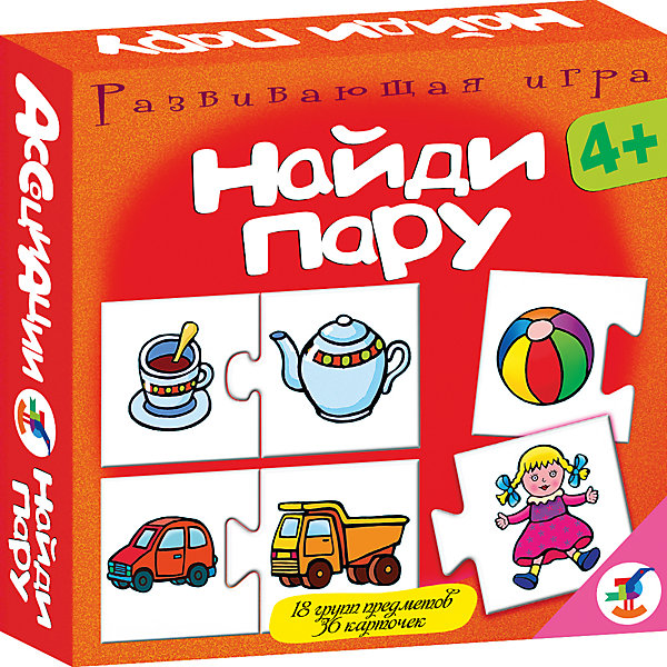 Ассоциации. Найди паруОбучающие карточки<br>Характеристики:<br><br>• тип игрушки: настольная игра;<br>• комплектация: 36 карточек, правила;<br>• возраст: от 4 лет;<br>• размер: 16,5x16,5x3 см;<br>• издатель: Дрофа;<br>• упаковка: картонная коробка;<br>• материал: картон.<br><br>Игра Ассоциации «Найди пару»  станет отличным помощником в формировании ассоциативного мышления детей. Игры способствуют развитию внимания и памяти, расширяют кругозор. Во всех играх нужно подобрать карточки, которые можно объединить по определенному признаку. Карточки соединяются друг с другом пазловым замком. <br><br>Игры основаны на поиске логических пар. Фигурная форма замка на карточках поможет проверить правильность ответов. Игры развивают логическое мышление, расширяют кругозор, учат самостоятельно рассуждать, сопоставлять, сравнивать и анализировать, совершенствуют мелкую моторику рук. Игра знакомит с различными группами предметов, учит классифицировать и объединять объекты в пары.<br><br>Увлекательная игра позволит провести время с пользой и узнать много нового. Все используемые материалы прошли проверку – они абсолютно безопасны для детей.  Яркая красная упаковка отлично подойдет в качестве подарка к празднику.<br><br>Игру Ассоциации «Найди пару»  можно купить в нашем интернет-магазине.<br>Ширина мм: 165; Глубина мм: 165; Высота мм: 30; Вес г: 150; Возраст от месяцев: 48; Возраст до месяцев: 2147483647; Пол: Унисекс; Возраст: Детский; SKU: 7323559;