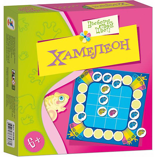 Игротека. ХамелеонОбучающие игры для дошкольников<br>Характеристики:<br><br>• тип игрушки: настольная игра;<br>• возраст: от 6 лет;<br>• комплектация: игровое поле, 56 карточек, правила;<br>• размер: 19x20х3 см;<br>• издатель: Дрофа;<br>• упаковка: картонная коробка;<br>• материал: картон.<br><br>Игра «Игротека. Хамелеон» разработана для детей от 6 лет.  Перед вами игра с весёлыми хамелеонами, которые меняют свой цвет, если их напугать. Игра развивает логическое мышление, учит мыслить стратегически и учитывать интересы соперника. Эта игра понравится и детям, и взрослым. Правила у нее простые и понятные. <br><br>Фишки-хамелеоны устанавливаются в стартовое положение, а затем поочередно перемещаются игроками по игровому полю на любую соседнюю клетку по вертикали или горизонтали. Если Ваша фишка оказалась рядом с хамелеоном того же цвета, значит Вы напугали этого хамелеона, и он поменяет цвет. Синий хамелеон становится зеленым, зеленый - желтым, желтый - красным. Красный хамелеон больше не меняет цвет, а переходит в качестве призового жетона игроку, который его напугал. Игрок, собравший наибольшее количество красных хамелеонов станет победителем.<br><br>Игру «Игротека. Хамелеон» можно купить в нашем интернет-магазине.