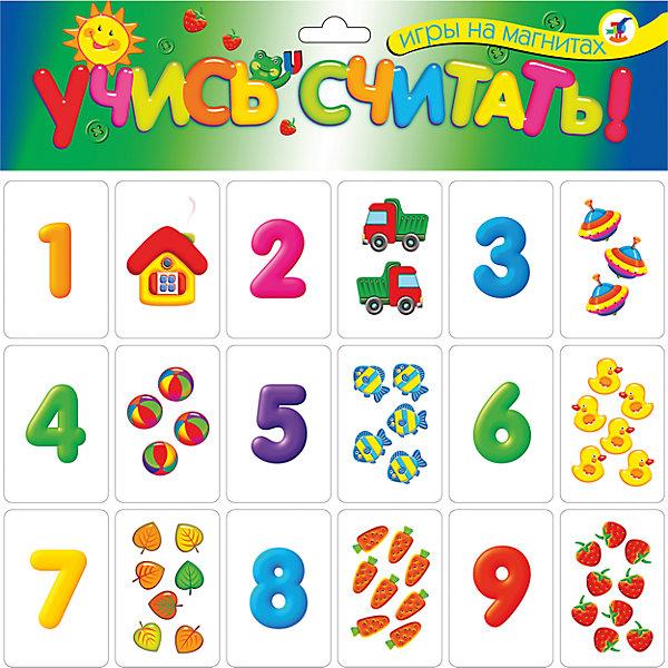 Магнитная игра Учись считать!Обучающие карточки<br>Характеристики:<br><br>• тип игрушки: магнитная;<br>• комплектация: 36 карточек;                                                                <br>• возраст: от 3 лет;<br>• размер: 21,5x29х3 см;<br>• издатель: Дрофа;<br>• упаковка: картонная;<br>• материал: магнит, картон.<br><br>Игра «Магнит. Учись считать!» совсем не сложная и в то же время очень увлекательная. В комплект игры входит 36 карточек с тематическими изображениями. Игра представляет собой готовые к использованию, разрезанные карточки с приклеенными сзади магнитами, которые можно прикрепить на холодильник или магнитную доску.<br><br>Карточки на магнитах прекрасно подходят для обучения и развития детей как дома, так и в детском саду или школе. Игра знакомит с цифрами и числами, составом чисел первого десятка, арифметическими знаками, учит составлять простые примеры на сложение и вычитание. Игра стимулирует развитие речи, обогащает словарный запас. <br>Все материалы, из которых изготовлены карточки, являются гипоаллергенными и прошли все необходимые для детских игрушек проверки на соответствие стандартам качества. <br><br>Игру «Магнит. Учись считать!» можно купить в нашем интернет-магазине.<br>Ширина мм: 215; Глубина мм: 290; Высота мм: 3; Вес г: 90; Возраст от месяцев: 36; Возраст до месяцев: 2147483647; Пол: Унисекс; Возраст: Детский; SKU: 7323600;
