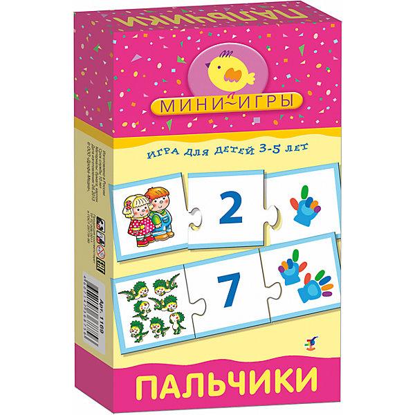 МИ. ПальчикиОбучающие карточки<br>Характеристики:<br><br>• тип игрушки: настольная;<br>• комплектация: 30 карточек, правила;                                                                <br>• возраст: от 3 лет;<br>• размер: 12x20х3,5 см;<br>• издатель: Дрофа;<br>• упаковка: картонная коробка;<br>• материал: картон.<br><br>Игра «МИ. Пальчики» совсем не сложная и в то же время очень увлекательная. В комплект игры входит 30 карточек и правила. Игра представляет собой готовые к использованию, разрезанные карточки с пояснениями на обратной стороне. <br>Игра знакомит с цифрами, учит счёту от 1 до 10, развивает мелкую моторику рук. <br><br>Элементы самопроверки помогут оценить правильность принимаемых решений. В процессе игры совершенствуется мелкая моторика рук, ребёнок учится самостоятельно рассуждать, сопоставлять и, что очень важно, анализировать.<br>Все материалы, из которых изготовлены карточки, являются гипоаллергенными и прошли все необходимые для детских игрушек проверки на соответствие стандартам качества. <br><br>Игру «МИ. Пальчики» можно купить в нашем интернет-магазине.<br>Ширина мм: 120; Глубина мм: 200; Высота мм: 35; Вес г: 155; Возраст от месяцев: 36; Возраст до месяцев: 2147483647; Пол: Унисекс; Возраст: Детский; SKU: 7323610;