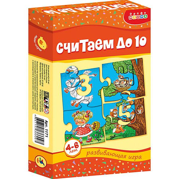 МИ. Считаем до 10Обучающие карточки<br>Характеристики:<br><br>• тип игрушки: настольная;<br>• комплектация: пазл из 24 элементов, правила;                                                                <br>• возраст: от 4 лет;<br>• размер: 12x20х3,5 см;<br>• издатель: Дрофа;<br>• упаковка: картонная коробка;<br>• материал: картон.<br><br>Игра «МИ. Считаем до 10» совсем не сложная и в то же время очень увлекательная. В комплект игры входит пазл из 24 элементов. Игра представляет собой готовые к использованию, разрезанные карточки с пояснениями на обратной стороне. <br>Игра знакомит с цифрами и числами (от 1 до 10), закрепляет навыки порядкового счёта, учит подбирать элементы, подходящие по форме, развивает мелкую моторику рук. В ходе игры ребёнок не только научится считать, но и познакомится с жизнью животных в лесу, сможет составить рассказ по картинке.<br><br> Все материалы, из которых изготовлены карточки, являются гипоаллергенными и прошли все необходимые для детских игрушек проверки на соответствие стандартам качества. <br><br>Игру «МИ. Считаем до 10» можно купить в нашем интернет-магазине.<br>Ширина мм: 120; Глубина мм: 200; Высота мм: 35; Вес г: 135; Возраст от месяцев: 48; Возраст до месяцев: 2147483647; Пол: Унисекс; Возраст: Детский; SKU: 7323616;