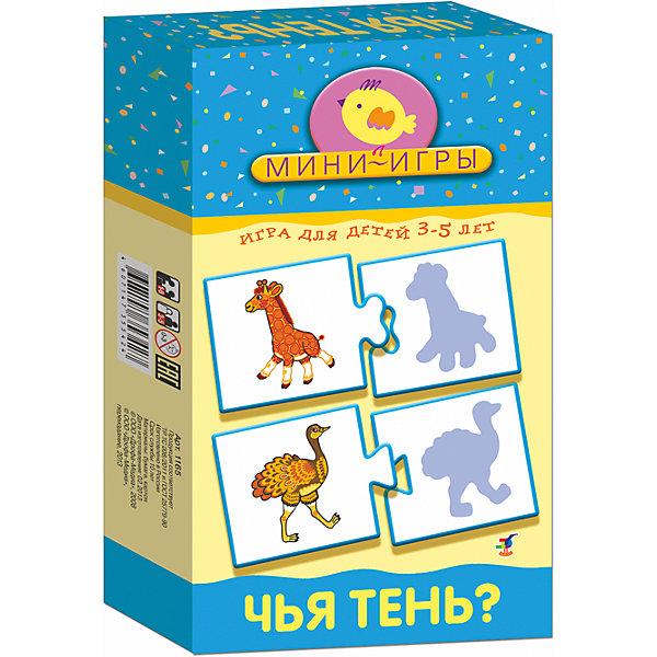 МИ. Чья тень?Обучающие карточки<br>Характеристики:<br><br>• тип игрушки: настольная;<br>• комплектация: 24 карточки, правила;                                                                <br>• возраст: от 3 лет;<br>• размер: 12x20х3,5 см;<br>• издатель: Дрофа;<br>• упаковка: картонная коробка;<br>• материал: картон.<br><br>Игра «МИ. Чья тень?» совсем не сложная и в то же время очень увлекательная. В комплект игры входит 24 карточки и правила. Игра представляет собой готовые к использованию, разрезанные карточки с пояснениями на обратной стороне. <br>Игра учит различать предметы по контуру, развивает зрительное восприятие, внимание и память, наблюдательность и усидчивость.<br><br>Все материалы, из которых изготовлены карточки, являются гипоаллергенными и прошли все необходимые для детских игрушек проверки на соответствие стандартам качества. <br><br>Игру «МИ. Чья тень?» можно купить в нашем интернет-магазине.<br>Ширина мм: 120; Глубина мм: 200; Высота мм: 35; Вес г: 130; Возраст от месяцев: 36; Возраст до месяцев: 2147483647; Пол: Унисекс; Возраст: Детский; SKU: 7323625;