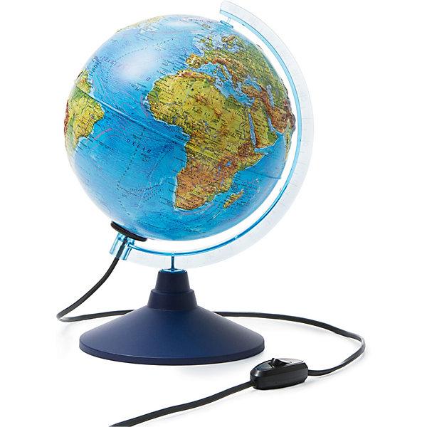 Глобус Земли физико-политический с подсветкой 210ммГлобусы<br>Характеристики:<br><br>• возраст: от 6 лет;<br>• диаметр: 21 см;<br>• материал: пластик;<br>• есть подсветка с переключателем на шнуре;<br>• упаковка: пакет, подарочная коробка;<br>• вес упаковки: 700 гр.;<br>• размер упаковки: 22х22х25 см;<br>• страна производитель: Россия.<br><br>Глобус Земли от компании Globen расположен на удобной подставке и красиво подсвечивается изнутри. Может служить дополнительным светильником. Физико-политический глобус наглядно отображает внешний вид поверхности планеты и все государственные границы на сегодняшний день, включая Крым в составе России. Рельефная поверхность карты сделает процесс изучения географии еще занимательней.<br><br>Глобус Земли физико-политический с подсветкой рельефный 210 мм можно купить в нашем интернет-магазине.<br>Ширина мм: 220; Глубина мм: 220; Высота мм: 250; Вес г: 700; Возраст от месяцев: 72; Возраст до месяцев: 2147483647; Пол: Унисекс; Возраст: Детский; SKU: 7327225;