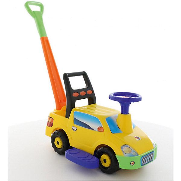 Полесье Машина-каталка с ручкой Пикап, желтая