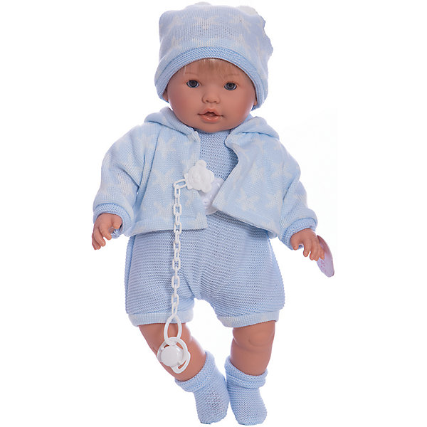 Кукла-пупс Llorens Нико в голубом боди, 48 смБренды кукол<br>Характеристики товара:<br><br>• возраст: от 3 лет;<br>• материал: ПВХ, текстиль;<br>• высота куклы: 48 см;<br>• размер упаковки: 47х23х12 см;<br>• вес упаковки: 1,27 кг;<br>• страна производитель: Испания.<br><br>Кукла «Нико в голубом боди» Llorens — очаровательный малыш, одетый в голубое боди, теплую кофточку, шапочку и носочки. У куклы мягконабивное тело, выполненное из ПВХ с наполнителем из синтетического волокна. Игра с куклой прививает малышке чувство заботы, ответственности. <br><br>Куклу «Нико в голубом боди» Llorens можно приобрести в нашем интернет-магазине.<br>Ширина мм: 230; Глубина мм: 120; Высота мм: 470; Вес г: 1270; Возраст от месяцев: 36; Возраст до месяцев: 84; Пол: Женский; Возраст: Детский; SKU: 7332021;
