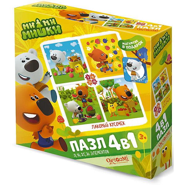 Пазл 4 в 1 Origami Ми-ми-мишки Лакомый кусочек, 9/16/25/36 элементовПазлы для малышей<br>Характеристики товара:<br><br>• возраст: от 3 лет;<br>• пол: для девочек;<br>• комплект: 4 пазла, магнит;<br>• количество элементов: 9,16,24,36 шт.;<br>• материал пазла: картон;<br>• размер упаковки: 18х18х5 см.;<br>• вес: 165 гр.;<br>• упаковка: картонная коробка;<br>• страна обладатель бренда: Россия.<br><br>Пазл предлагает собрать 4 различные красочные картинки с изображением веселых мишек и друзей.<br><br>Каждый пазл отличается разной степенью сложности. <br><br>В набор входит приятный бонус в виде магнита с изображением забавного мишки. <br><br>Элементы пазла изготовлены из плотного картона, поэтому данные головоломки будут долгое время радовать ребенка.<br><br>Пазл  «Лакомый кусочек» можно купить в нашем интернет-магазине.<br>Ширина мм: 180; Глубина мм: 180; Высота мм: 50; Вес г: 165; Возраст от месяцев: 36; Возраст до месяцев: 2147483647; Пол: Унисекс; Возраст: Детский; SKU: 7335545;