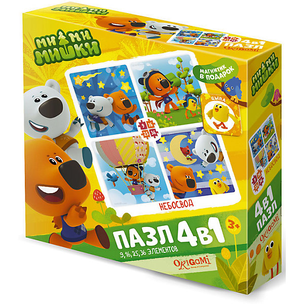 Пазл 4 в 1 Origami Ми-ми-мишки Небосвод, 9/16/24/36 элементовПазлы для малышей<br>Характеристики товара:<br><br>• возраст: от 3 лет;<br>• пол: для девочек;<br>• комплект: 4 пазла, магнит;<br>• количество элементов: 9,16,24,36 шт.;<br>• материал пазла: картон;<br>• размер упаковки: 18х18х5 см.;<br>• вес: 165 гр.;<br>• упаковка: картонная коробка;<br>• страна обладатель бренда: Россия.<br><br>Набор состоит из четырех пазлов с любимыми героями, на которых Кеша, Тучка и их друзья попадают в захватывающие приключения.<br><br>Каждый пазл отличается разной степенью сложности. <br><br>В набор входит приятный бонус в виде магнита с изображением забавного мишки. <br><br>Элементы пазла изготовлены из плотного картона, поэтому данные головоломки будут долгое время радовать ребенка.<br><br>Пазл «Небосвод» можно купить в нашем интернет-магазине.<br>Ширина мм: 180; Глубина мм: 180; Высота мм: 50; Вес г: 165; Возраст от месяцев: 36; Возраст до месяцев: 2147483647; Пол: Унисекс; Возраст: Детский; SKU: 7335546;