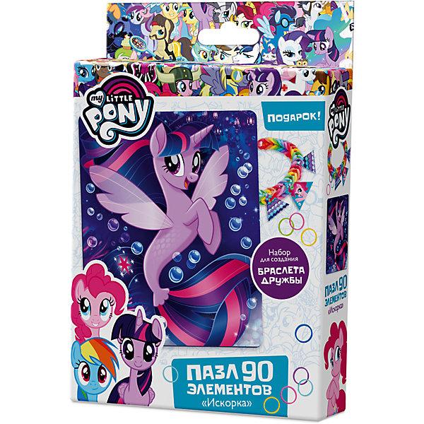 Пазл Origami My little pony 90 элементов + браслетик Сумеречная ИскоркаПазлы для малышей<br>Характеристики товара:<br><br>• возраст: от 3 лет;<br>• пол: для девочек и мальчиков;<br>• герой: мои маленькие пони;<br>• комплект: элементы пазла, 11 подвесок, магнит;<br>• количество элементов: 90 шт.;<br>• материал пазла: картон, бумага, полимерные материалы;<br>• размер упаковки: 18,2х3,2х11,6 см.;<br>• вес: 80 гр.;<br>• упаковка: картонная коробка;<br>• страна обладатель бренда: Россия.<br><br>Пазл настоящий подарок для поклонников полнометражного мультфильма «Мой маленький пони». <br><br>Пазл состоит из 90 деталей с пазловым замком и выполнен в морской тематике.<br><br>В комплект также входят 11 карточек-подвесок, магнит, набор для творчества.<br><br>Пазл можно купить в нашем интернет-магазине.<br>Ширина мм: 182; Глубина мм: 32; Высота мм: 116; Вес г: 80; Возраст от месяцев: 36; Возраст до месяцев: 2147483647; Пол: Унисекс; Возраст: Детский; SKU: 7335557;