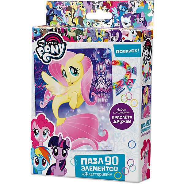Пазл Origami My little pony 90 элементов + браслетик ФлаттершайMy little Pony<br>Характеристики товара:<br><br>• возраст: от 3 лет;<br>• пол: для девочек и мальчиков;<br>• герой: мои маленькие пони;<br>• комплект: элементы пазла, 11 подвесок, магнит;<br>• количество элементов: 90 шт.;<br>• материал пазла: картон, бумага, полимерные материалы;<br>• размер упаковки: 18,2х3,2х11,6 см.;<br>• вес: 80 гр.;<br>• упаковка: картонная коробка;<br>• страна обладатель бренда: Россия.<br><br>Пазл настоящий подарок для поклонников полнометражного мультфильма «Мой маленький пони». <br><br>Пазл состоит из 90 деталей с пазловым замком и выполнен в морской тематике.<br><br>В комплект также входят 11 карточек-подвесок, магнит, набор для творчества.<br><br>Пазл можно купить в нашем интернет-магазине.<br>Ширина мм: 182; Глубина мм: 32; Высота мм: 116; Вес г: 80; Возраст от месяцев: 36; Возраст до месяцев: 2147483647; Пол: Унисекс; Возраст: Детский; SKU: 7335558;