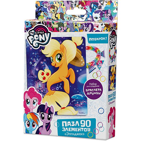 Пазл Origami My little pony 90 элементов + браслетик ЭпплджекПазлы для малышей<br>Характеристики товара:<br><br>• возраст: от 3 лет;<br>• пол: для девочек и мальчиков;<br>• герой: мои маленькие пони;<br>• комплект: элементы пазла, 11 подвесок, магнит;<br>• количество элементов: 90 шт.;<br>• материал пазла: картон, бумага, полимерные материалы;<br>• размер упаковки: 18,2х3,2х11,6 см.;<br>• вес: 80 гр.;<br>• упаковка: картонная коробка;<br>• страна обладатель бренда: Россия.<br><br>Пазл настоящий подарок для поклонников полнометражного мультфильма «Мой маленький пони». <br><br>Пазл состоит из 90 деталей с пазловым замком и выполнен в морской тематике.<br><br>В комплект также входят 11 карточек-подвесок, магнит, набор для творчества.<br><br>Пазл можно купить в нашем интернет-магазине.<br>Ширина мм: 182; Глубина мм: 32; Высота мм: 116; Вес г: 80; Возраст от месяцев: 36; Возраст до месяцев: 2147483647; Пол: Унисекс; Возраст: Детский; SKU: 7335559;