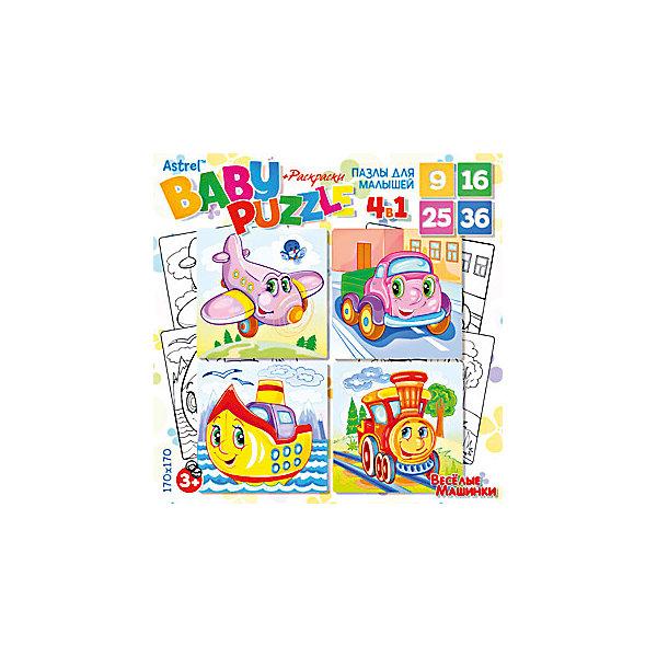 Пазл 4 в 1 Origami Веселые машинки, 9/16/25/36 элементовПазлы для малышей<br>Характеристики товара:<br><br>• возраст: от 3 лет;<br>• пол: для девочек и мальчиков;<br>• количество деталей: 86 шт.;<br>• комплект: 4 пазла-раскраски;<br>• из чего сделана игрушка (состав): бумага, картон;<br>• размер упаковки: 18х5х18 см.;<br>• вес: 158 гр.;<br>• упаковка: картонная коробка;<br>• страна обладатель бренда: Россия.<br><br>Набор пазлов «Веселые машинки» это 4 двусторонних пазла-раскраски в 1 наборе, каждый из которых состоит из различного количества элементов. <br><br>На обратной стороне деталей имеется контурная копия рисунка головоломки. Если собранную картинку перевернуть, у ребенка появится возможность раскрасить ее по своему усмотрению. <br><br>Переход от простого пазла к более сложному, с разными по величине элементами, заинтересует ребенка и помогут научиться терпению и внимательности.<br><br>Пазл 4 в 1 «Веселые машинки» можно купить в нашем интернет-магазине.<br>Ширина мм: 180; Глубина мм: 50; Высота мм: 180; Вес г: 158; Возраст от месяцев: 36; Возраст до месяцев: 2147483647; Пол: Унисекс; Возраст: Детский; SKU: 7335573;