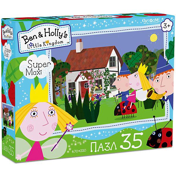 Пазл Maxi Origami Бен и Холли Вперед, Гастон!, 35 элементовПазлы для малышей<br>Характеристики товара:<br><br>• возраст: от 3 лет;<br>• пол: для девочек и мальчиков;<br>• количество деталей: 35 шт.;<br>• из чего сделана игрушка (состав): картон, бумага;<br>• размер упаковки: 23х5х18 см.;<br>• вес: 165 гр.;<br>• размер пазла: 47х33 см.;<br>• упаковка: картонная коробка;<br>• страна обладатель бренда: Россия.<br><br>Макси-пазл «Вперед, Гастон!» увлекательная головоломка, которая понравится поклонникам популярного мультсериала «Маленькое королевство Бена и Холли». <br><br>Элементы пазла выполненны в довольно крупном формате, которые хорошо скрепляются друг с другом, поэтому ребенку не составит труда самостоятельно собрать оригинальную картину с изображенными на ней эльфом Беном и феей Холли, сидящими на божьей коровке по имени Гастон.<br><br>Пазл «Вперед, Гастон» можно купить в нашем интернет-магазине.<br>Ширина мм: 230; Глубина мм: 50; Высота мм: 180; Вес г: 165; Возраст от месяцев: 36; Возраст до месяцев: 2147483647; Пол: Унисекс; Возраст: Детский; SKU: 7335576;