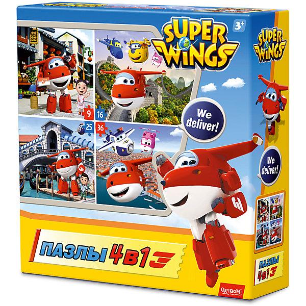 Пазл 4 в 1 Origami Супер Крылья Путешествуем с Джеттом, 9/16/24/36 элементовПазлы для малышей<br>Характеристики товара:<br><br>• возраст: от 3 лет;<br>• пол: для девочек и мальчиков;<br>• количество деталей: 86 шт.;<br>• из чего сделана игрушка (состав): картон, бумага;<br>• комплект: 4 пазла;<br>• размер упаковки: 18х18х5 см.;<br>• вес: 130 гр.;<br>• упаковка: картонная коробка;<br>• страна обладатель бренда: Россия.<br><br>Пазл «Путешествуем с Джеттом» содержит элементы для сборки четырех изображений разной сложности. <br><br>Собрав самое легкое изображение, состоящее из 9 элементов, ребенок сможет перейти к более сложным. <br><br>Пазлы развивают моторику рук и усидчивость.<br><br>Набор пазлов 4 в 1 «Путешествуем с Джеттом» можно купить в нашем интернет-магазине.<br>Ширина мм: 180; Глубина мм: 180; Высота мм: 50; Вес г: 130; Возраст от месяцев: 36; Возраст до месяцев: 2147483647; Пол: Унисекс; Возраст: Детский; SKU: 7335585;