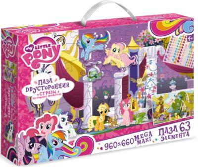 Пазл Maxi Origami  My little Pony  Королевство 63 элемента + стразы и настольные держатели, артикул:7335587 - My little Pony