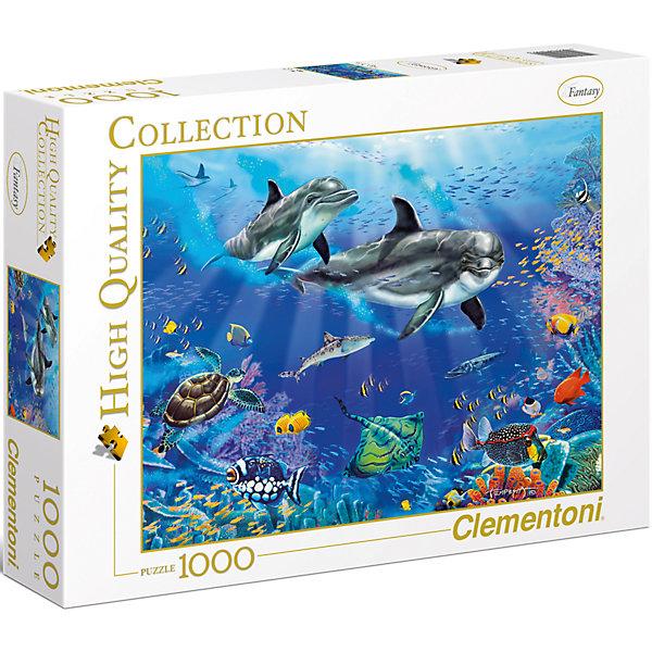 Пазл Clementoni Дельфины, 1000 элементовПазлы классические<br>Характеристики товара:<br><br>• возраст: от 7 лет;<br>• пол: для девочек и мальчиков;<br>• количество элементов: 1000 шт.;<br>• из чего сделана игрушка (состав): картон;<br>• размер упаковки: 37х5,5х28,1 см.;<br>• вес: 875 гр.;<br>• упаковка: картонная коробка;<br>• размер собранного пазла: 69х50 см.;<br>• страна обладатель бренда: Италия.<br><br>Пазл «Дельфины» является репродукцией картины художника Кристиана Риеса Лассена. <br><br>Данный пазл обладает качественным и отлично детализированным изображением, на котором представлены 2 дельфина и другие морские обитатели.<br><br>При сборке пазла у ребенка будет тренироваться логическое и пространственное мышление, а также он приучится к усидчивости, внимательности и терпению.<br><br>Пазл «Дельфины» можно купить в нашем интернет-магазине.<br>Ширина мм: 370; Глубина мм: 55; Высота мм: 281; Вес г: 875; Возраст от месяцев: 84; Возраст до месяцев: 2147483647; Пол: Унисекс; Возраст: Детский; SKU: 7335624;