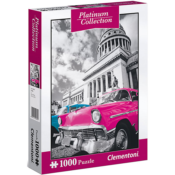 Пазл Clementoni Платиновая коллекция Куба, 1000 элементовПазлы классические<br>Характеристики товара:<br><br>• возраст: от 7 лет;<br>• пол: для девочек и мальчиков;<br>• количество элементов: 1000 шт.;<br>• из чего сделана игрушка (состав): картон;<br>• размер упаковки: 28,1х37х5,8 см.;<br>• вес: 961 гр.;<br>• упаковка: картонная коробка;<br>• размер собранного пазла: 69х50 см.;<br>• страна обладатель бренда: Италия.<br><br>Пазл «Платиновая коллекция. Куба» изображает эффектное, бросающееся в глаза ретроавто, стоящее на фоне здания гаванского Капитолия.<br><br>Пазл «Куба» можно купить в нашем интернет-магазине.<br>Ширина мм: 281; Глубина мм: 370; Высота мм: 58; Вес г: 961; Возраст от месяцев: 84; Возраст до месяцев: 2147483647; Пол: Унисекс; Возраст: Детский; SKU: 7335628;