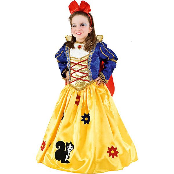 Карнавальный костюм Veneziano Белоснежка для девочкиКарнавальные костюмы для девочек<br>Характеристики товара:<br><br>• цвет: желтый/синий;<br>• состав: 80% полиэстер, 20% акрил;<br>• в комплекте: платье, плащ, воротник;<br>• внимание! Обувь в комплект не входит;<br>• сезон: круглый год;<br>• страна бренда: Италия;<br>• страна изготовитель: Италия.<br><br>Карнавальный костюм Veneziano для девочки. Итальянский карнавальный костюм Veneziano «Белоснежка». Кто на свете всех милее, всех румяней и белее? Конечно же ваша девочка и её образ отлично украшает карнавальный костюм от итальянских дизайнеров Veneziano. Длинное платье, королевский воротник и плащ, выделят маленькую «Белоснежку» на любом празднике.<br><br>Карнавальный костюм Veneziano можно купить в нашем интернет-магазине.<br>Ширина мм: 236; Глубина мм: 16; Высота мм: 184; Вес г: 177; Цвет: разноцветный; Возраст от месяцев: 36; Возраст до месяцев: 48; Пол: Женский; Возраст: Детский; Размер: 104,116; SKU: 7336828;