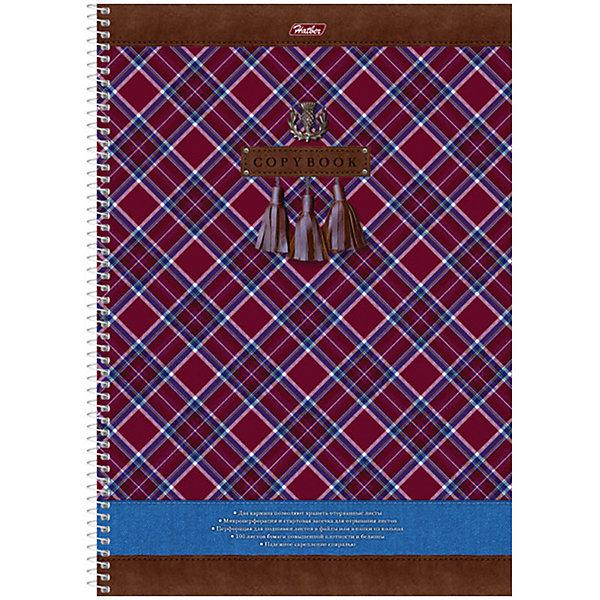 Hatber Тетрадь 100л. А4 клетка на спирали Шотландка, с карманом, перфорацией отрыв