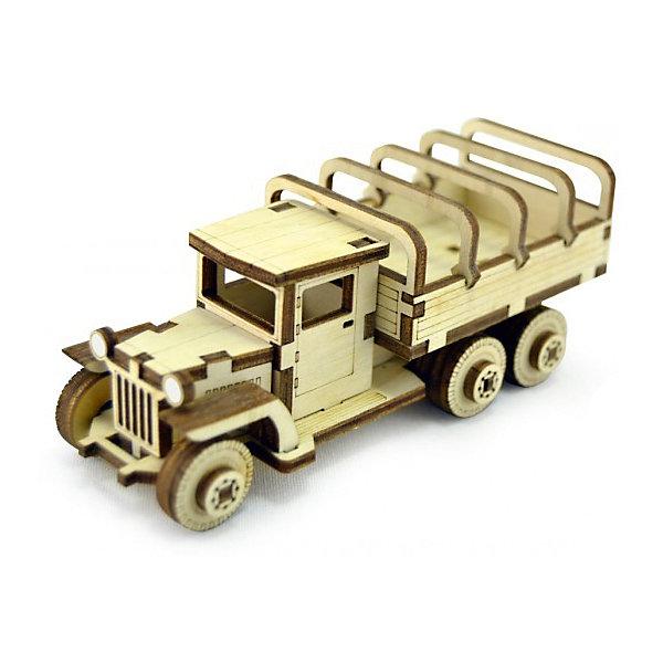 Сборная деревянная модель Lemmo Советский грузовик ЗИС-5вп, подвижнаяДеревянные модели<br>Характеристики:<br><br>• тип игрушки: конструктор<br>• возраст: от 5 лет;<br>• количество деталей: 54 шт;<br>• комплектация: клей ПВА, наждачная бумага, подробная инструкция;<br>• размер: 20x10х1 см;<br>• вес: 70 гр;<br>• бренд: Lemmo;<br>• материал: дерево.<br><br>Конструктор 3D подвижный Lemmo «Советский грузовик ЗИС-5вп» - это небольшой набор, подойдет для самостоятельной сборки детям от 5 лет, а детям помладше понадобится помощь родителей. В собранном виде у грузовика крутятся колеса, и он отлично ездит по любой поверхности.<br><br>Экологически чистые, развивающие конструкторы от российского производителя «Lemmo» помогут вашему ребенку развить мелкую моторику рук, воображение, пространственное мышление, логику и предметное моделирование.<br><br>Все детали выполнены из качественной древесины и имеют сильный насыщенный запах дерева. Наборы укомплектованы клеем ПВА и наждачной бумагой. Любой конструктор после сборки можно раскрасить акриловыми и гуашевыми красками, но даже без этого в результате получается полноценная красивая игрушка с подвижными элементами. <br><br>Конструктор 3D подвижный Lemmo «Советский грузовик ЗИС-5вп» можно купить в нашем интернет-магазине.<br>Ширина мм: 200; Глубина мм: 100; Высота мм: 10; Вес г: 70; Возраст от месяцев: 60; Возраст до месяцев: 2147483647; Пол: Мужской; Возраст: Детский; SKU: 7338205;