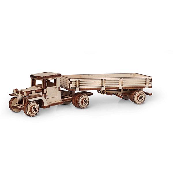Сборная деревянная модель Lemmo Грузовик ЗИС с прицепом, подвижнаяДеревянные модели<br>Характеристики:<br><br>• тип игрушки: конструктор<br>• возраст: от 5 лет;<br>• количество деталей: 58 шт;<br>• комплектация: клей ПВА, наждачная бумага, подробная инструкция;<br>• размер: 20x10х1 см;<br>• вес: 80 гр;<br>• бренд: Lemmo;<br>• материал: дерево.<br><br>Конструктор 3D подвижный Lemmo «Грузовик ЗИС с прицепом» - это небольшой набор, подойдет для самостоятельной сборки детям от 5 лет, а детям помладше понадобится помощь родителей. В собранном виде у грузовика крутятся колеса, и он отлично ездит по любой поверхности.<br><br>Экологически чистые, развивающие конструкторы от российского производителя «Lemmo» помогут вашему ребенку развить мелкую моторику рук, воображение, пространственное мышление, логику и предметное моделирование.<br><br>Все детали выполнены из качественной древесины и имеют сильный насыщенный запах дерева. Наборы укомплектованы клеем ПВА и наждачной бумагой. Любой конструктор после сборки можно раскрасить акриловыми и гуашевыми красками, но даже без этого в результате получается полноценная красивая игрушка с подвижными элементами. <br><br>Конструктор 3D подвижный Lemmo «Грузовик ЗИС с прицепом» можно купить в нашем интернет-магазине.<br>Ширина мм: 200; Глубина мм: 100; Высота мм: 10; Вес г: 80; Возраст от месяцев: 60; Возраст до месяцев: 2147483647; Пол: Мужской; Возраст: Детский; SKU: 7338207;