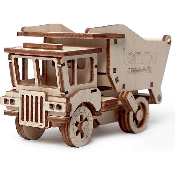 Сборная деревянная модель Lemmo Самосвал Сэм, подвижнаяДеревянные модели<br>Характеристики:<br><br>• тип игрушки: конструктор<br>• возраст: от 5 лет;<br>• количество деталей: 39 шт;<br>• комплектация: наждачная бумага, подробная инструкция, клей ПВА;<br>• размер: 21,5x10,5х3 см;<br>• вес: 200 гр;<br>• бренд: Lemmo;<br>• материал: дерево.<br><br>Конструктор 3D подвижный Lemmo «Самосвал Сэм»  станет отличным подарком для маленьких любителей строительной техники. Этот небольшой набор, средний по уровню сложности, рекомендован детям от 5 лет. В собранном виде у грузовика вращаются колеса, поднимается кузов и открывается задняя дверь кузова.<br><br>Экологически чистые, развивающие конструкторы от российского производителя «Lemmo» помогут вашему ребенку развить мелкую моторику рук, воображение, пространственное мышление, логику и предметное моделирование.<br><br>Все детали выполнены из качественной древесины и имеют сильный насыщенный запах дерева. Наборы укомплектованы клеем ПВА и наждачной бумагой. Любой конструктор после сборки можно раскрасить акриловыми и гуашевыми красками, но даже без этого в результате получается полноценная красивая игрушка с подвижными элементами.<br><br>Конструктор 3D подвижный Lemmo «Самосвал Сэм» можно купить в нашем интернет-магазине.<br>Ширина мм: 215; Глубина мм: 105; Высота мм: 30; Вес г: 200; Возраст от месяцев: 60; Возраст до месяцев: 2147483647; Пол: Унисекс; Возраст: Детский; SKU: 7338230;
