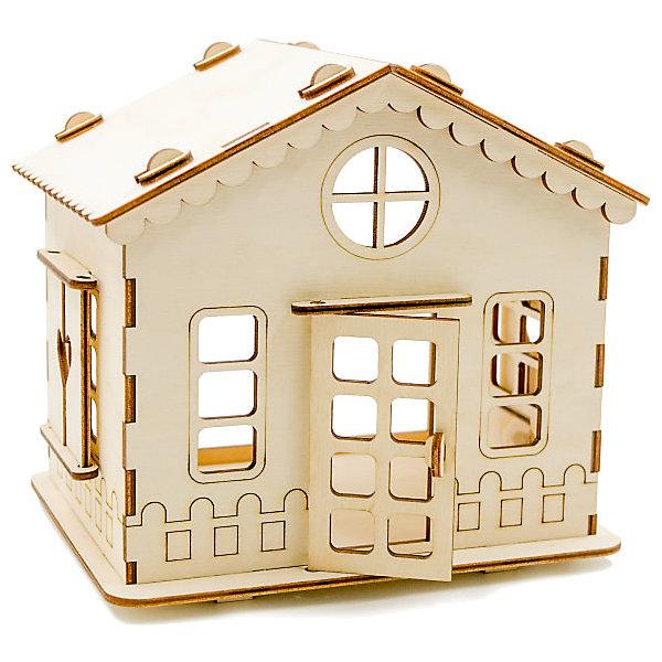 Сборная деревянная модель Хэппикон ХэппиДом. Дачный домикДеревянные модели<br>Характеристики:<br><br>• тип игрушки: конструктор<br>• возраст: от 5 лет;<br>• количество деталей: 43 шт;<br>• размер: 18,5x17,5х6 см;<br>• вес: 200 гр;<br>• бренд: Lemmo;<br>• материал: дерево.<br><br>Конструктор ХэппиДом «Дачный домик» из дерева – отличный подарок для девочки от 5 лет. В собранном и раскрашенном виде получается домик с открывающимися дверью и ставнями. У домика отсутствует задняя стенка и в этом случае внутрь можно разместить одну комнату Зал, Детская или Кухня. <br><br>Все детали выполнены из качественной древесины и имеют сильный насыщенный запах дерева. Любой конструктор после сборки можно раскрасить акриловыми и гуашевыми красками, но даже без этого в результате получается полноценная красивая игрушка с подвижными элементами.<br><br>Конструктор ХэппиДом «Дачный домик» из дерева можно купить в нашем интернет-магазине.<br>Ширина мм: 185; Глубина мм: 175; Высота мм: 60; Вес г: 200; Возраст от месяцев: 60; Возраст до месяцев: 2147483647; Пол: Женский; Возраст: Детский; SKU: 7338240;