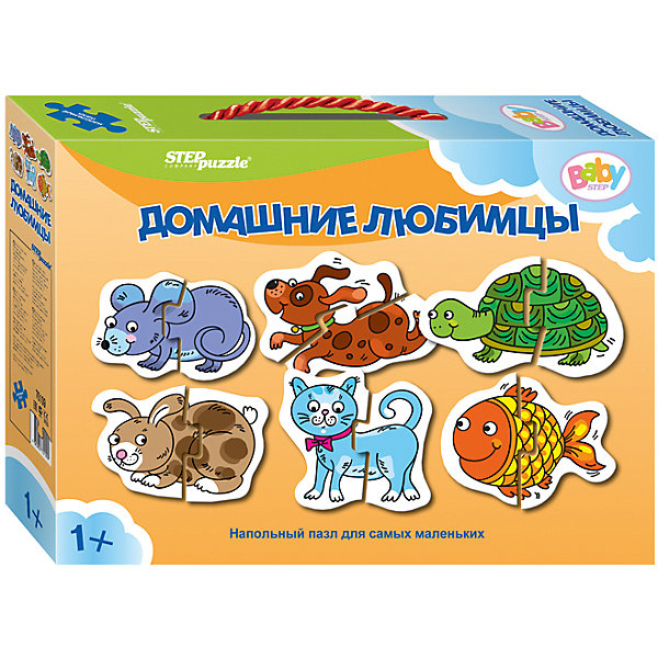 Напольный пазл 6 в 1 Step Puzzle Домашние любимцы, по 2 элемента на каждую картинкуКоврики-пазлы<br>Характеристики товара:<br><br>• возраст: от 1 года;<br>• комплект: 6 пазлов по 2 элемента;<br>• материал: картон;<br>• размер 1 собранного пазла: 34х34 см;<br>• упаковка: картонная коробка с ручкой;<br>• размер упаковки: 24,5х17х5 см;<br>• бренд, страна производства: STEP puzzle, Россия.<br><br>Напольный пазл-мозаика «Домашние любимцы» станет отличной развивающей игрушкой для малыша. В комплект входят 6 пазлов по 2 элемента каждый, с изображением домашних животных: мышки, собаки, черепахи, кролика, кошки, рыбки. Все детали пазла яркие, красочные, а главное – крупные. <br><br>Собирая детали пазла, малыш познакомится с различными домашними животными, увидит как они выглядят. Играя с таким пазлом-мозайкой, малыш сможет развивать моторику рук и тактильное восприятие.<br><br>Пазл упакован в картонную коробку с изображением основной картинки, на которую удобно ориентироваться при сборке. Пазл сделан из прочных и качественных, нетоксичных и гипоаллергенных материалов.<br><br>Напольный пазл-мозаика «Домашние любимцы», набор 6 пазлов можно купить в нашем интернет-магазине.<br>Ширина мм: 240; Глубина мм: 170; Высота мм: 50; Вес г: 200; Возраст от месяцев: 12; Возраст до месяцев: 2147483647; Пол: Унисекс; Возраст: Детский; SKU: 7338310;