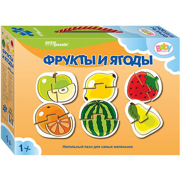 Напольный пазл 6 в 1 Step Puzzle Фрукты и ягоды, по 2 элемента на каждую картинкуКоврики-пазлы<br>Характеристики товара:<br><br>• возраст: от 1 года;<br>• комплект: 6 пазлов по 2 элемента;<br>• материал: картон;<br>• размер 1 собранного пазла: 34х34 см;<br>• упаковка: картонная коробка с ручкой;<br>• размер упаковки: 24,5х17х5 см;<br>• бренд, страна производства: STEP puzzle, Россия.<br><br>Напольный пазл-мозаика «Фрукты и Ягоды» станет отличной развивающей игрушкой для малыша. В комплект входят 6 пазлов по 2 элемента каждый, с изображением фруктов и ягод:яблока, лимона, клубники, апельсина, арбуза и груши.Все детали пазла яркие, красочные, а главное – крупные. <br><br>Собирая детали пазла, малыш познакомится с фруктами и ягодами, увидит как они выглядят и увеличит свой словарный запас. Играя с таким пазлом-мозайкой, малыш сможет развивать моторику рук и тактильное восприятие.<br><br>Пазл упакован в картонную коробку с изображением основной картинки, на которую удобно ориентироваться при сборке. Пазл сделан из прочных и качественных, нетоксичных и гипоаллергенных материалов.<br><br>Напольный пазл-мозаика «Фрукты и Ягоды», набор 6 пазлов можно купить в нашем интернет-магазине.<br>Ширина мм: 240; Глубина мм: 170; Высота мм: 50; Вес г: 200; Возраст от месяцев: 12; Возраст до месяцев: 2147483647; Пол: Унисекс; Возраст: Детский; SKU: 7338313;
