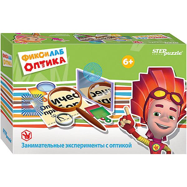 Развивающая игра Step Puzzle Фиксилаб. ОптикаХимия и физика<br>Характеристики товара:<br><br>• возраст: от 6 лет;<br>• комплект: детали набора, инструкция;<br>• материал:картон, пластик;<br>• размер упаковки: 20,5x13x6 см.;<br>• упаковка: картонная коробка;<br>• бренд, страна производства: STEP puzzle, Россия.<br>                                                                                                                                                                                                                                                                                                                       <br>Развивающая игра «Фиксилаб. Оптика» - представляет собой комплект различных приспособлений для проведения интересных экспериментов, подробное руководство которых изложено в предоставленной инструкции.<br><br>В комплекте набора представлены 2 картонных короба с окошками, в которые предстоит вставлять карточки с различными изображениями. Также среди атрибутов ребенок найдет 4 пластиковых инструмента, с помощью которого черно-белая картинка приобретает тот или иной цвет. В ходе эксперимента ребенок узнает о преломлении света и влиянии окружающих факторов на то, как отображается предмет.<br><br>Каждый научный конструктор сопровождается историей, о приключениях друзей из города Самоделкино. Элек и Трон, Кнопка, Том в доступной для детей форме расскажут и объяснят, как с физической точки зрения действует собранный механизм.<br><br>Развивающая игра «Фиксилаб. Оптика»  STEP puzzle можно купить в нашем интернет-магазине.<br>Ширина мм: 205; Глубина мм: 130; Высота мм: 55; Вес г: 180; Возраст от месяцев: 72; Возраст до месяцев: 2147483647; Пол: Унисекс; Возраст: Детский; SKU: 7338339;