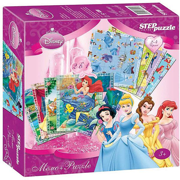 Настольная игра 2 в 1 Мемо+Пазлы Disney ПринцессыОбучающие игры<br>Характеристики товара:<br><br>• возраст: от 3 лет;<br>• количество деталей: 24 шт.;<br>• материал: картон;<br>• размер упаковки: 20x20x5 см.;<br>• упаковка: картонная коробка;<br>• бренд, страна производства: STEP puzzle, Россия.<br>                                                                                                                                                                                                                                                                                                                       <br>Настольная мемо-игра «Принцессы» подарит детям увлекательное приключение в чудесный мир очаровательных Принцесс Диснея. <br><br>Игра рассчитана на 2-4 игроков старше 3 лет, которым предстоит подобрать соответствующие карточки для того, чтобы собрать красочную картинку. На каждой картинке изображен определенный кадр из мультфильма. <br><br>Игра с таким пазлом поможет ребенку в развитии логического мышления, воображения, памяти и мелкой моторики рук.<br><br>Все карточки в наборе сделаны из плотного картона. Игра обязательно привлечет к себе внимание своими яркими картинками.<br><br>Настольную мемо-игру «Принцессы», 24 детали,  STEP puzzle можно купить в нашем интернет-магазине.<br>Ширина мм: 200; Глубина мм: 200; Высота мм: 50; Вес г: 340; Возраст от месяцев: 36; Возраст до месяцев: 2147483647; Пол: Унисекс; Возраст: Детский; SKU: 7338343;