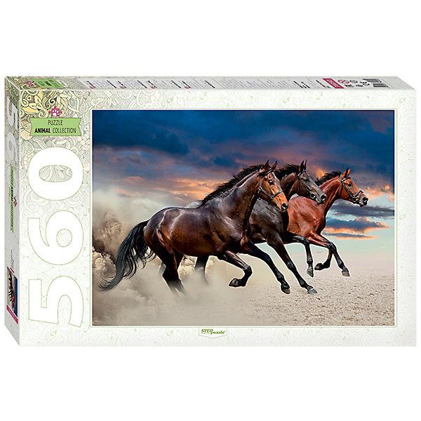 Пазл Step Puzzle Лошади, 560 элементовПазлы классические<br>Характеристики товара:<br><br>• возраст: от 7 лет;<br>• количество деталей: 560;<br>• размер собранной картины: 50х34,5 см.;<br>• материал: картон;<br>• размер упаковки: 33x22x4 см.;<br>• упаковка: картонная каробка;<br>• бренд, страна производства: STEP puzzle, Россия.<br>                                                                                                                                                                                                                                                                                                                       <br>Пазл «Лощади», состоящий из 560 элементов, придется по душе всей вашей семье. Собрав этот пазл, вы получите оригинальный красочный постер с изображением несущихся по степи лошадями, за которыми видны клубы поднятой в воздух пыли.<br><br>Пазл выполнен из высококачественных материалов, что обеспечивает идеальное прилегание элементов друг к другу. Готовую картину можно склеить, вставить в рамку и повесить на стену.<br><br>Собирание пазлов это не только интересно, но и полезно: ведь в процессе создания картинки развивается мелкая моторика, тренируются наблюдательность и логическое мышление.<br><br>Пазл «Лощади», 560 деталей можно купить в нашем интернет-магазине.<br>Ширина мм: 335; Глубина мм: 215; Высота мм: 39; Вес г: 350; Возраст от месяцев: 72; Возраст до месяцев: 2147483647; Пол: Унисекс; Возраст: Детский; SKU: 7338357;