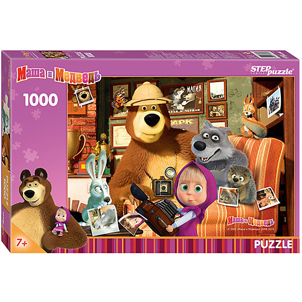 Пазл Step Puzzle Маша и Медведь, 1000 элементовПазлы классические<br>Характеристики товара:<br><br>• возраст: от 7 лет;<br>• количество деталей: 1000;<br>• размер собранной картины: 68х48 см.;<br>• материал: картон;<br>• размер упаковки: 40x27x5,5 см.;<br>• упаковка: картонная каробка;<br>• бренд, страна производства: STEP puzzle, Россия.<br>                                                                                                                                                                                                                                                                                                                       <br>Пазл «Маша и Медведь», состоящий из 1000 элементов, придется по душе всей вашей семье. Собрав этот пазл, вы получите яркую детализированную картинку с любимыми героями из одноименного мультфильма.<br><br>Пазл выполнен из высококачественных материалов, что обеспечивает идеальное прилегание элементов друг к другу. Такой эффектный постер сможет стать прекрасным украшением детской комнаты. <br><br>Собирание пазлов это не только интересно, но и полезно: ведь в процессе создания картинки развивается мелкая моторика, тренируются наблюдательность и логическое мышление.<br><br>Пазл «Маша и Медведь», 1000 деталей можно купить в нашем интернет-магазине.<br>Ширина мм: 400; Глубина мм: 270; Высота мм: 55; Вес г: 780; Возраст от месяцев: 84; Возраст до месяцев: 2147483647; Пол: Унисекс; Возраст: Детский; SKU: 7338388;