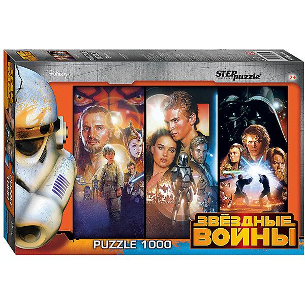 Пазл Step Puzzle Звездные войны, 1000 элементовЗвездные войны Игры и Пазлы<br>Характеристики товара:<br><br>• возраст: от 7 лет;<br>• количество деталей: 1000;<br>• размер собранной картины: 68х48 см.;<br>• материал: картон;<br>• размер упаковки: 40x27x5,5 см.;<br>• упаковка: картонная каробка;<br>• бренд, страна производства: STEP puzzle, Россия.<br>                                                                                                                                                                                                                                                                                                                       <br>Пазл «Звёздные войны», состоящий из 1000 элементов, придется по душе всей вашей семье. Собрав этот пазл, вы получите яркую детализированную картинку с изображением героев фантастической звездной саги.<br><br>Пазл выполнен из высококачественных материалов, что обеспечивает идеальное прилегание элементов друг к другу. Такой эффектный постер сможет стать прекрасным украшением детской комнаты. <br><br>Собирание пазлов это не только интересно, но и полезно: ведь в процессе создания картинки развивается мелкая моторика, тренируются наблюдательность и логическое мышление.<br><br>Пазл «Звёздные войны», 1000 деталей можно купить в нашем интернет-магазине.<br>Ширина мм: 400; Глубина мм: 270; Высота мм: 55; Вес г: 780; Возраст от месяцев: 84; Возраст до месяцев: 2147483647; Пол: Унисекс; Возраст: Детский; SKU: 7338389;